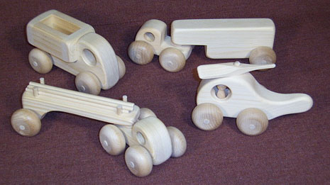 small wooden toy vehicles